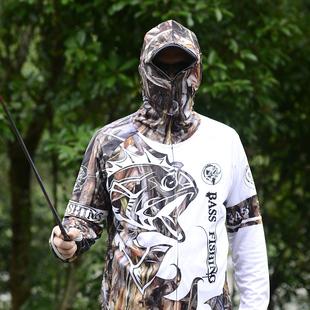 帶帽釣魚防曬服男款防曬衣冰絲垂釣夏季透氣超薄防蚊釣魚衣服套裝