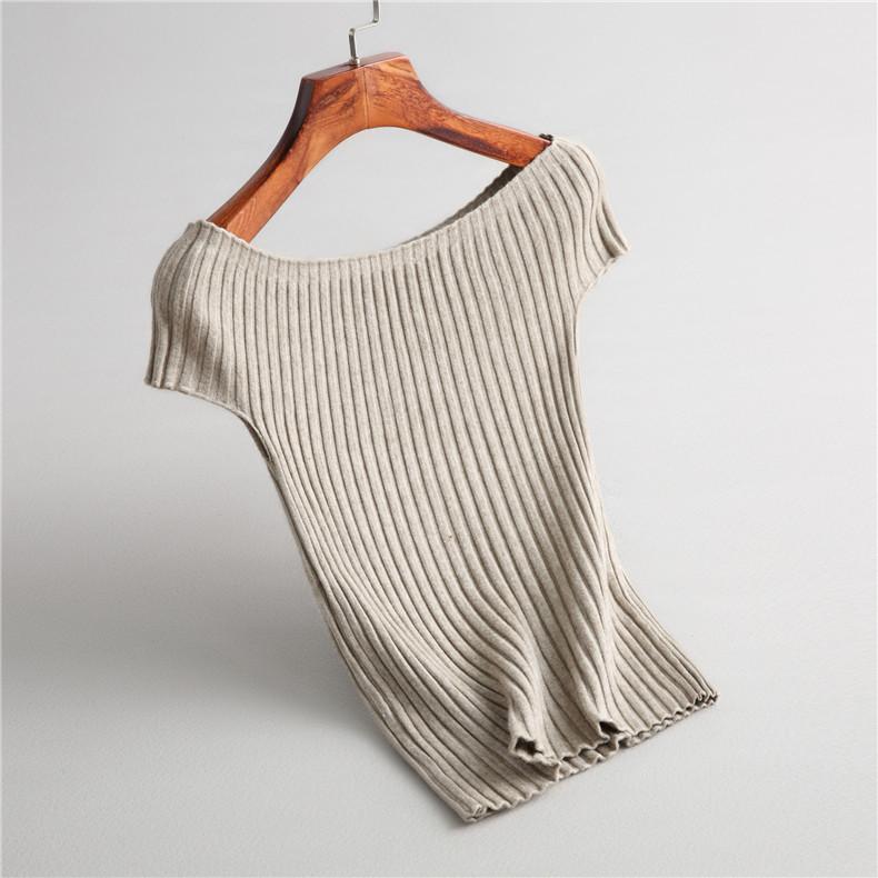 2020初秋新款大圆领一字领肩短袖针织衫修身打底衫t恤毛衣线衣女