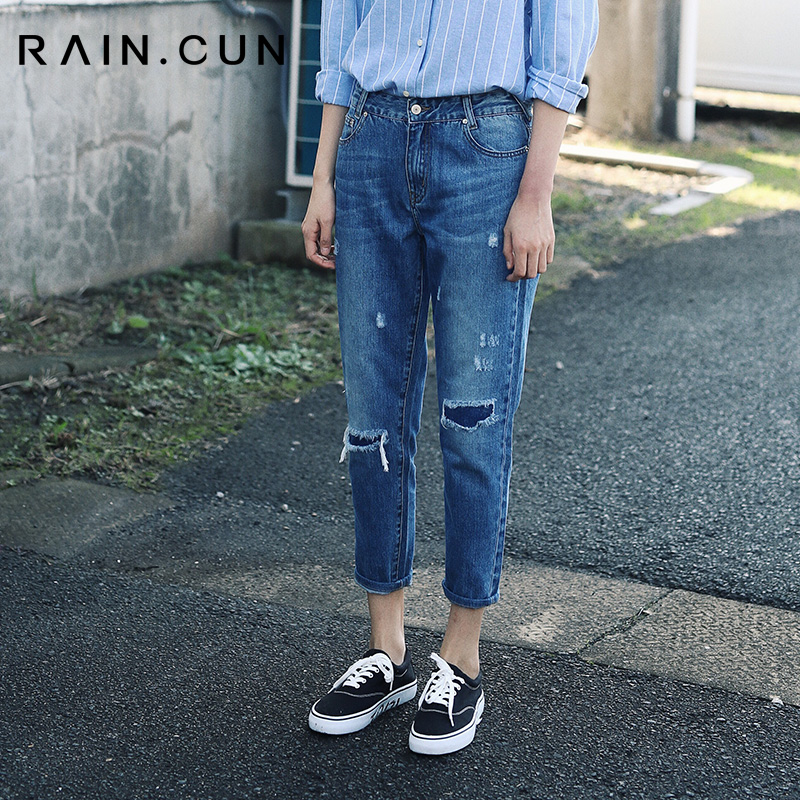 However, with pure jeans women loose and hollow retro Hong Kong flavor Korean version 9 points straight-barreled thin carrot daddy pants
