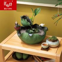 匠心坊新中式景观流水摆件办公室桌面喷泉加湿器创意禅意家居装饰