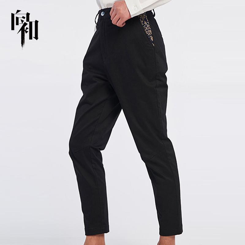 Xiangchu 2019 slim fit Capris solid mens British Leggings casual versatile straight suit pants mens fashion