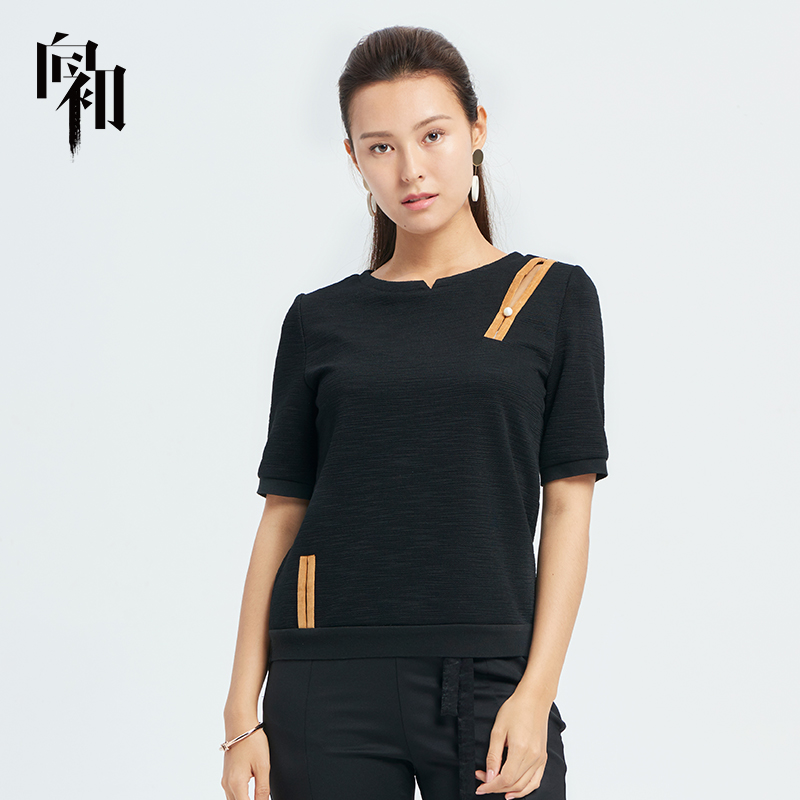 Xiangchu 2019 spring and summer womens national style round neck casual versatile slim fit solid color T-shirt womens T-shirt