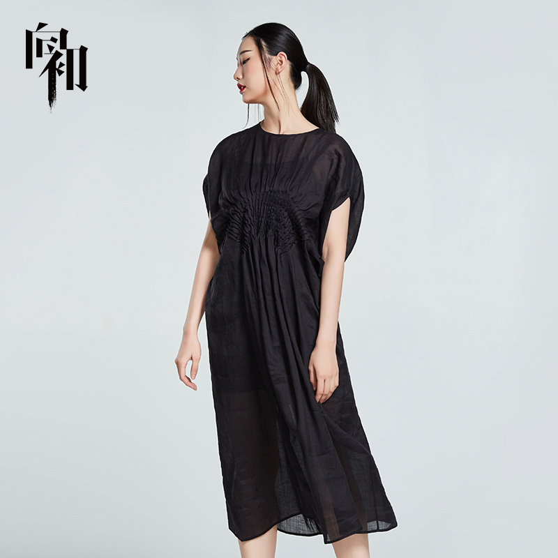 To the early summer dress womens Chinese style loose linen long skirt large lady pleated skirt bat sleeve skirt show thin