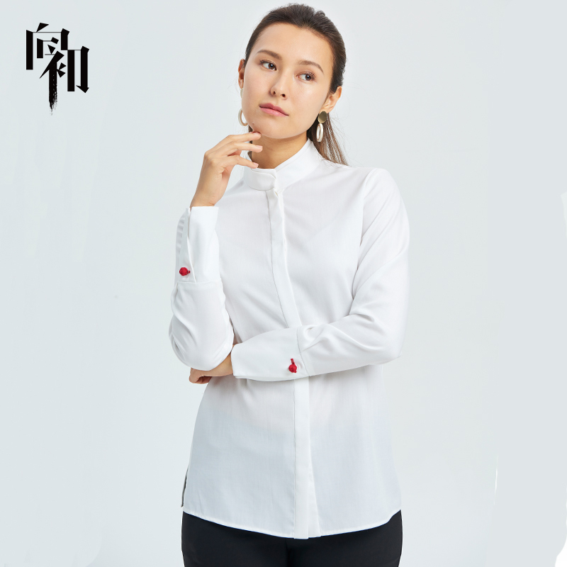 To the beginning of 2019 spring new national style simple loose long sleeve versatile stand collar casual dress shirt
