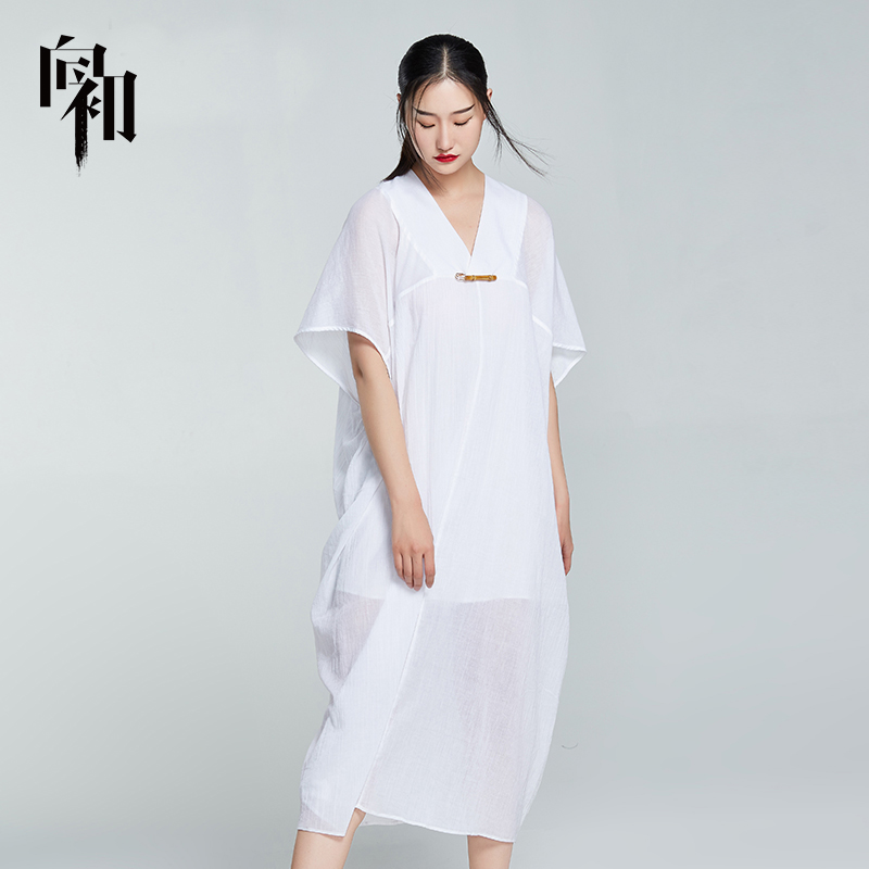 To the early summer Chinese style dress bat sleeve cotton loose swing short sleeve long skirt medium length V-neck skirt