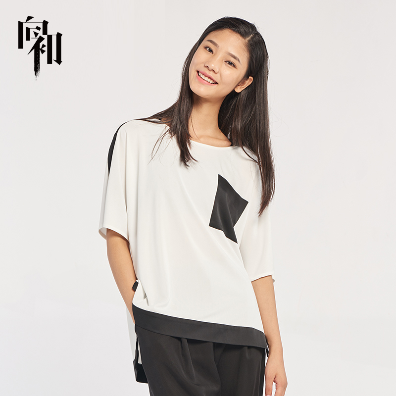 Contrast color to the beginning round neck short sleeve T-shirt loose thin base shirt versatile trend womens T-shirt bat sleeve top
