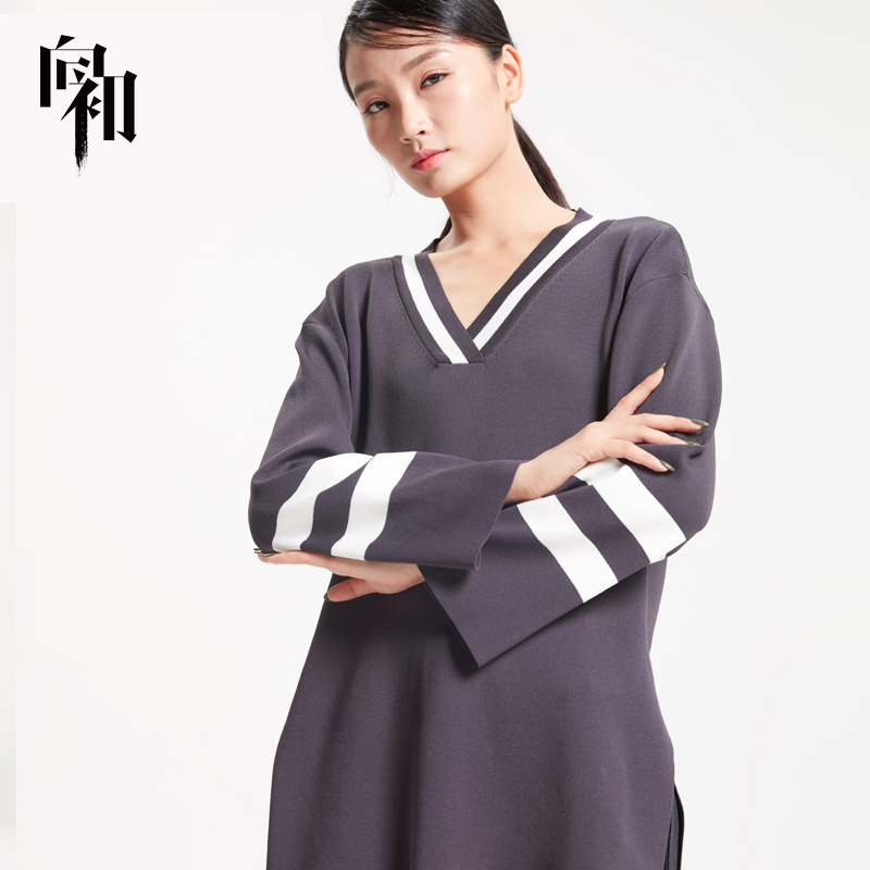 Color contrast STRIPE TOP autumn and winter womens V-neck hem split irregular loose Pullover knitted sweater