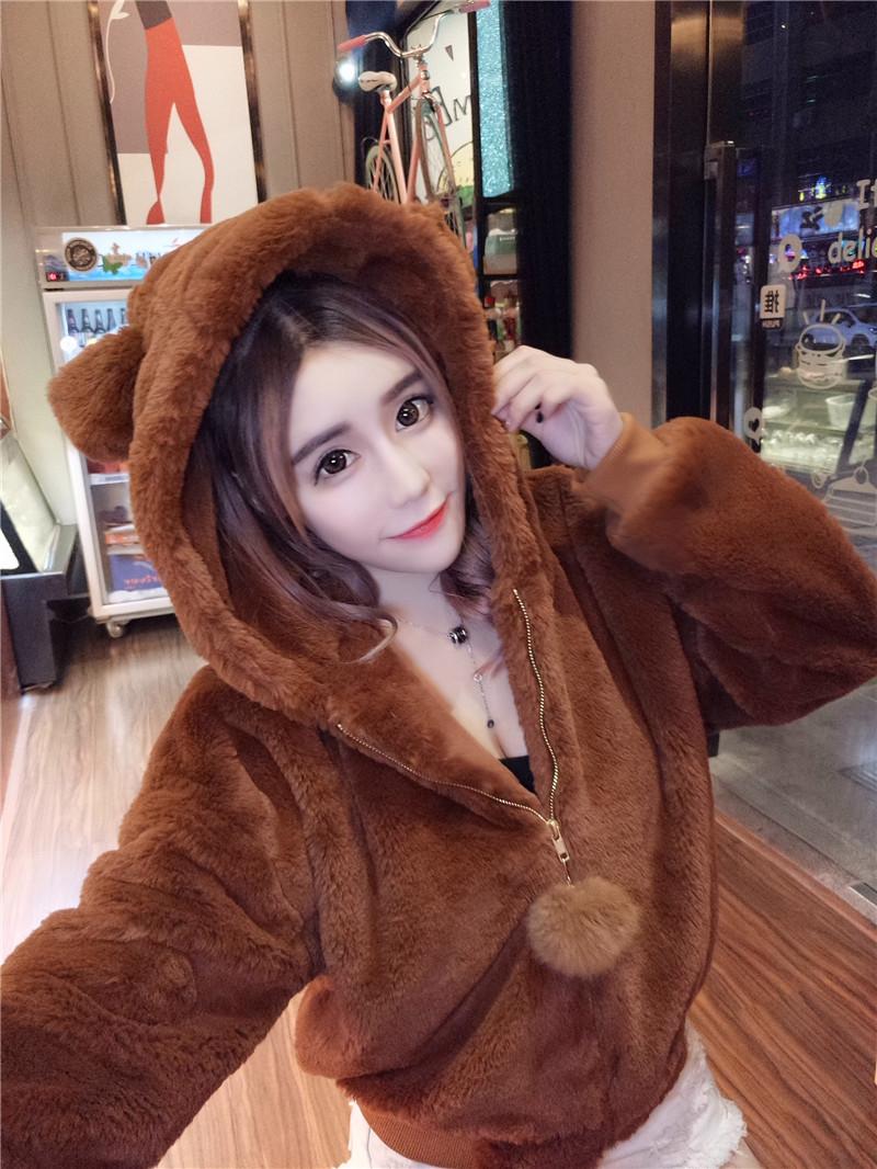 实拍冬季可爱小熊兔耳朵毛绒连帽加厚长袖卫衣仿皮草外套