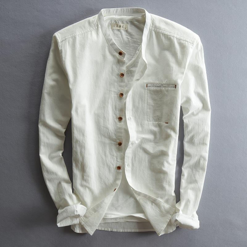 竖领亚麻衬衫男长袖立领修身帅气男神日系白色棉麻布料男装衬衣秋