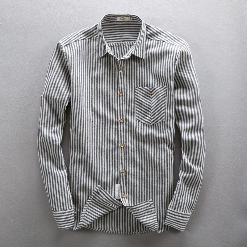 Business and leisure autumn mens cotton and linen Long Sleeve Striped Shirt