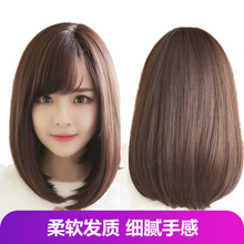 Wig woman short hair, medium long curl, straight hair, wave shoulder-to-shoulder air, Liu Hai big face, bald face, round face, middle and inner buckle cover
