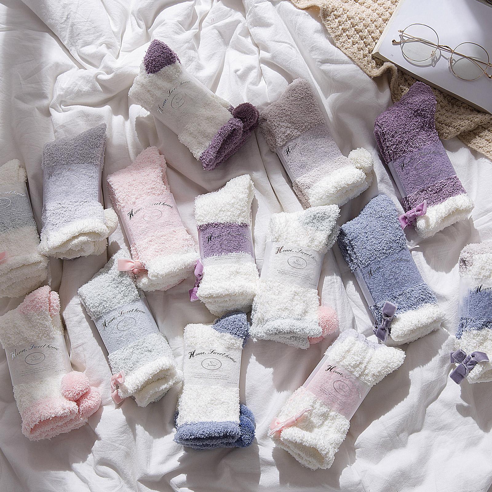 珊瑚绒毛袜子女秋冬季加绒加厚居家地板袜月子保暖睡眠袜睡觉长筒