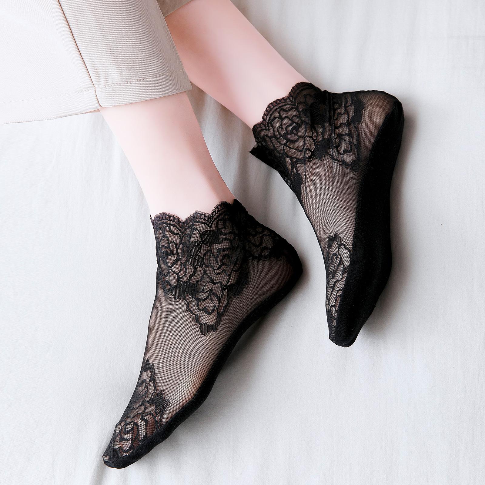 韩国蕾丝袜子女花边短袜浅口夏天日系女士船袜夏季薄款透气水晶袜