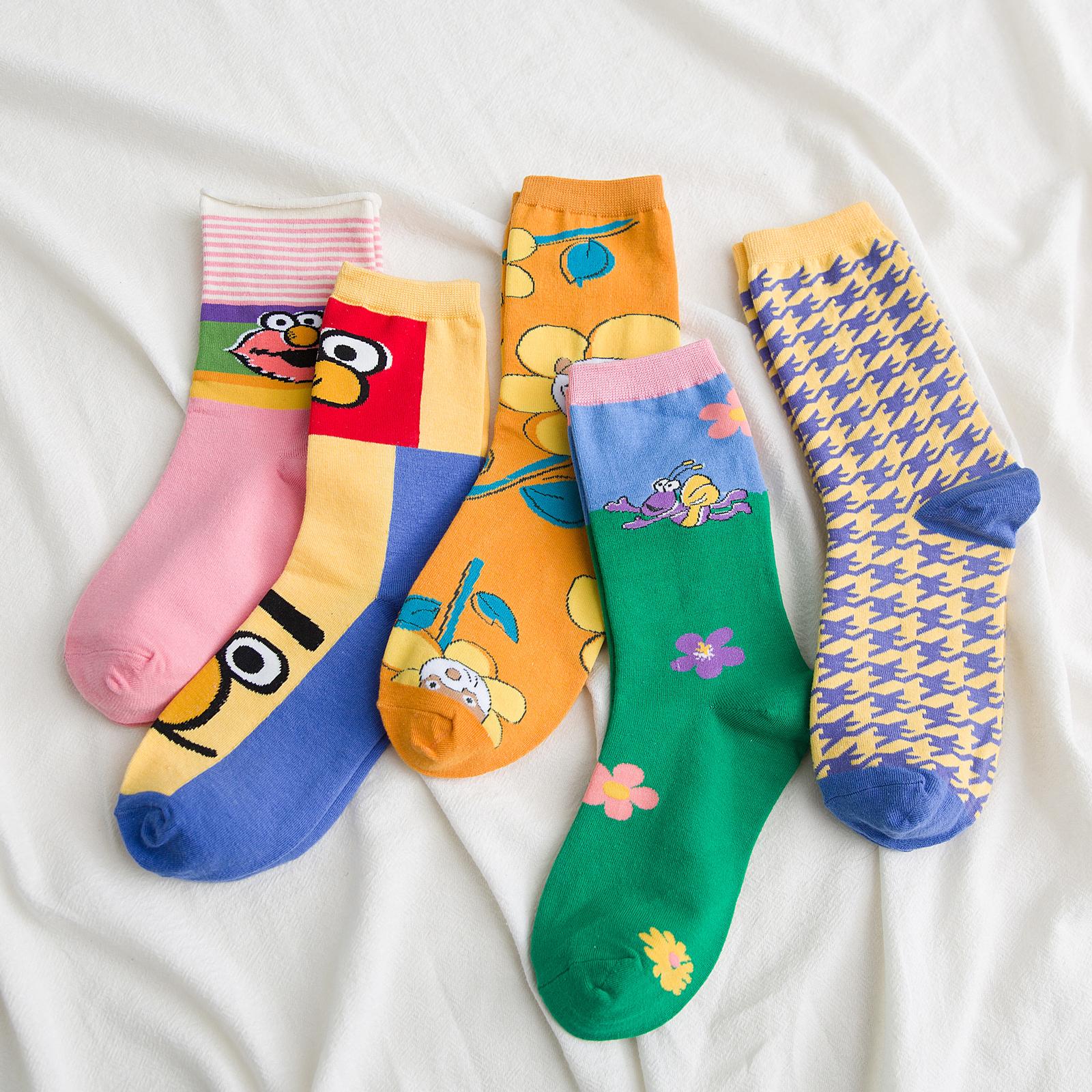 网红袜子女中筒袜秋冬季ins潮韩国可爱日系长筒袜百搭街头堆堆袜