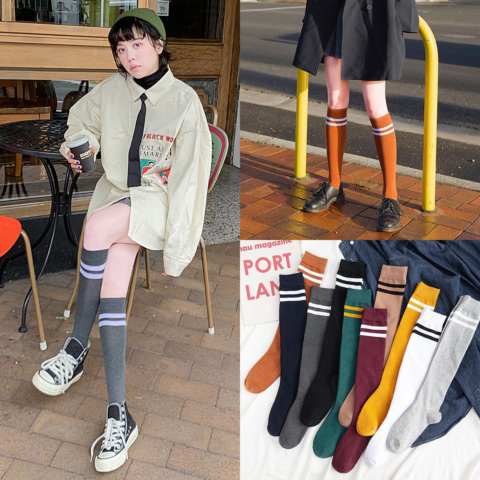 小腿袜ins潮长袜子女高筒袜夏天薄款夏季日系中筒袜jk及膝长筒袜