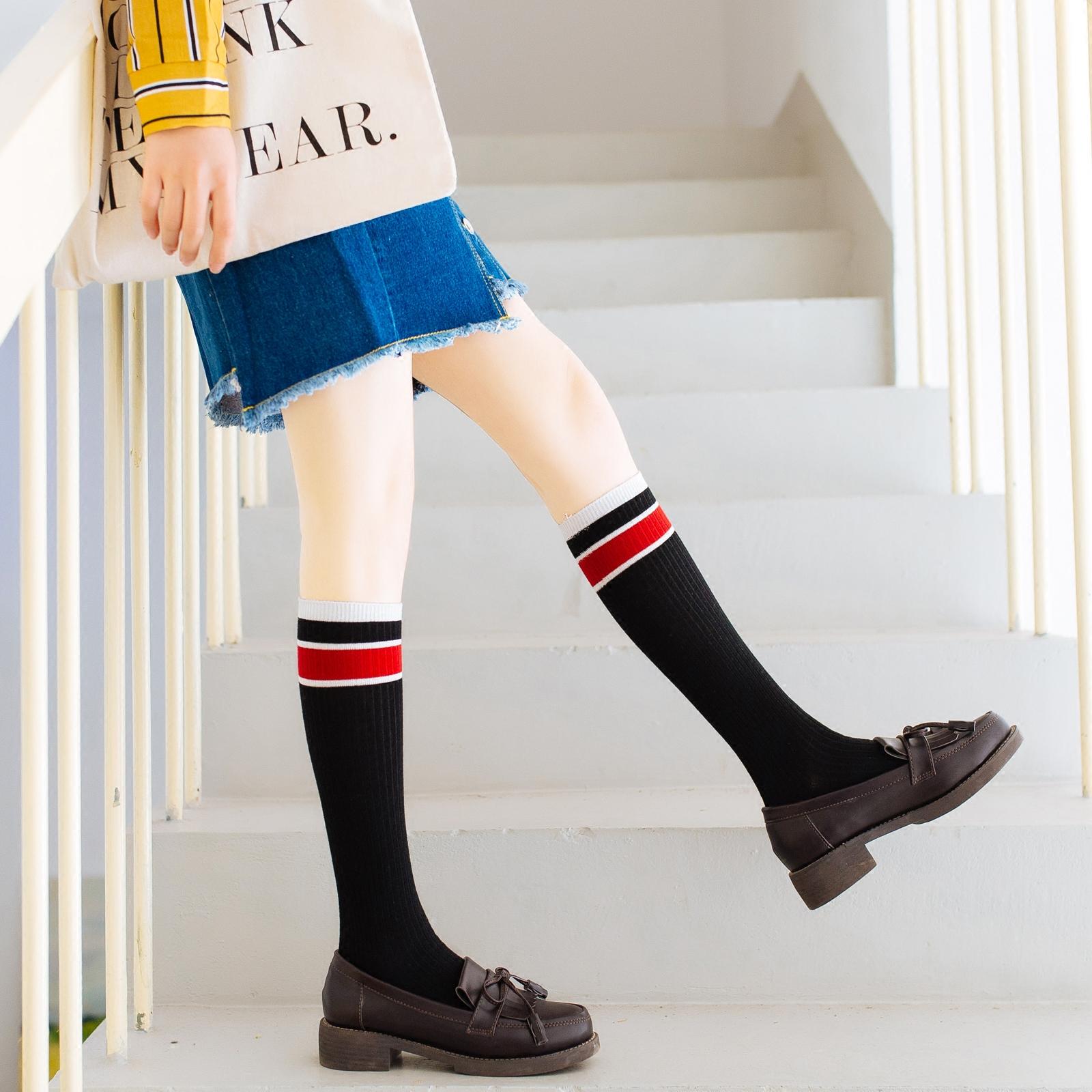 小腿袜纯棉高筒春秋薄款长袜子女jk韩国条纹及膝袜日系半筒袜高帮