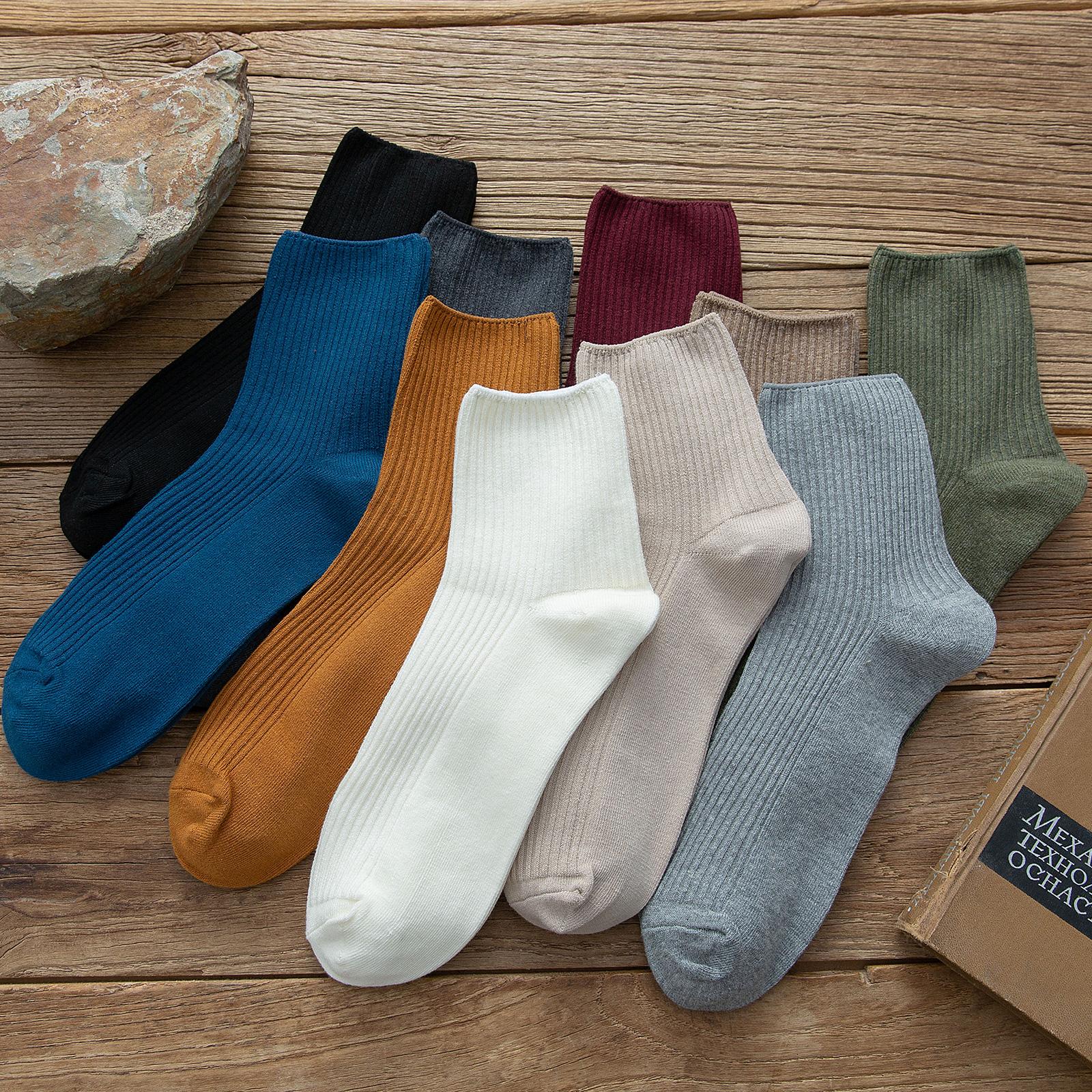 纯色高帮袜子男士中筒袜ins潮百搭纯棉春夏季长筒袜全棉防臭长袜
