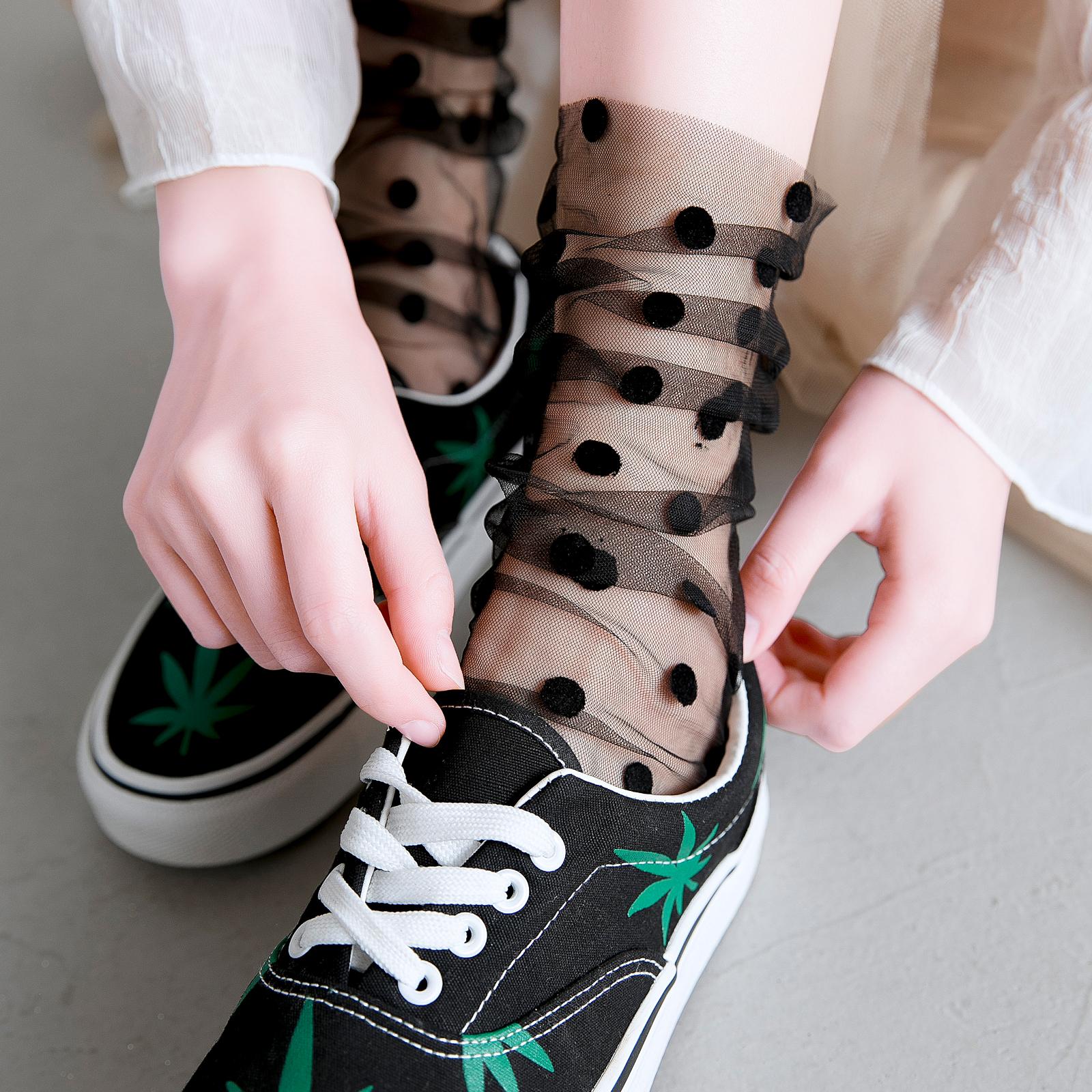 蕾丝长袜子女韩国中筒袜夏季薄款网纱透明水晶堆堆袜花边日系仙女
