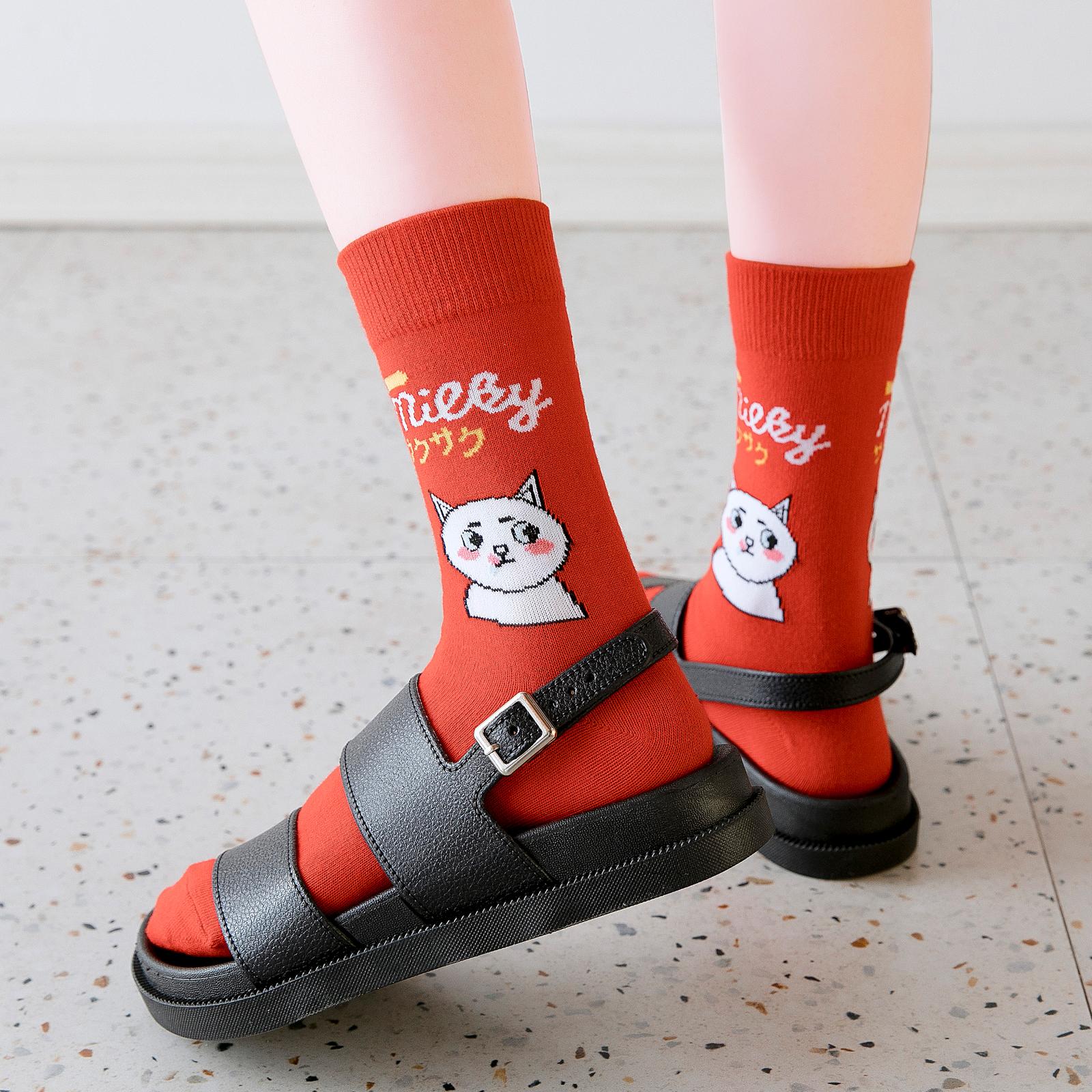 中筒袜女生潮ins夏季韩版长筒袜街头嘻哈可爱卡通袜子薄款网红袜