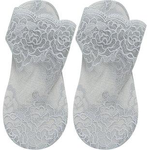 黑色鏤空蕾絲襪子女花邊短襪淺口網紗透明中筒棉底腳面透明水晶襪