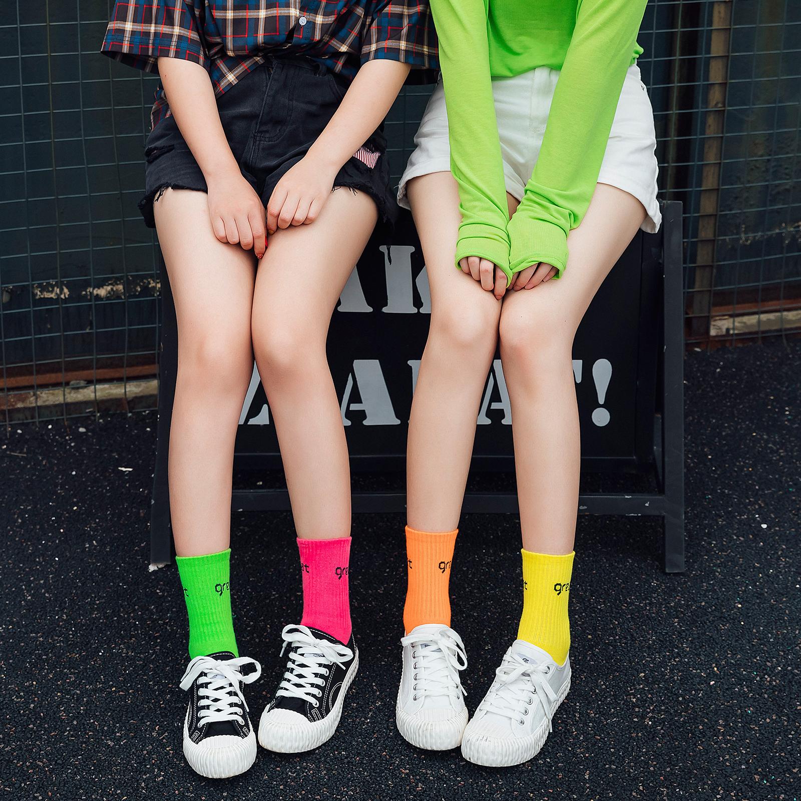 糖果色长筒袜子女ins潮网红夏天薄款中筒袜夏季玫红彩色运动高帮
