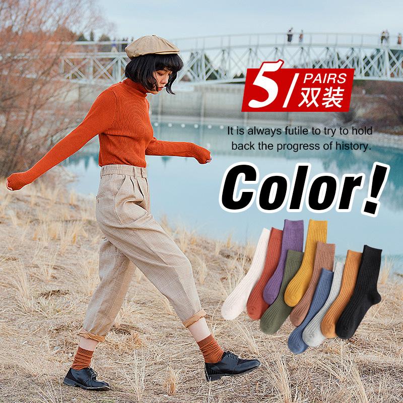 纯色袜子女中筒袜ins潮纯棉堆堆袜春秋薄款韩国日系长袜月子高筒