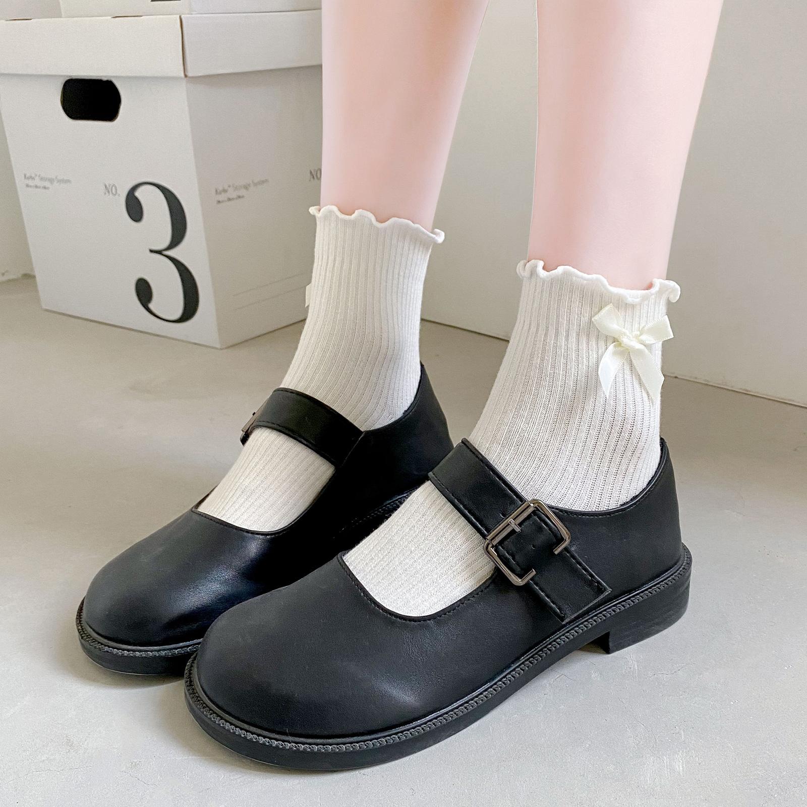 白色洛丽塔袜子女中筒袜纯棉jk日系可爱夏季薄款蝴蝶结木耳花边袜