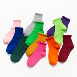 彩色袜子女中筒袜ins潮网红糖果色夏季薄款纯棉纯色日系玫红紫色