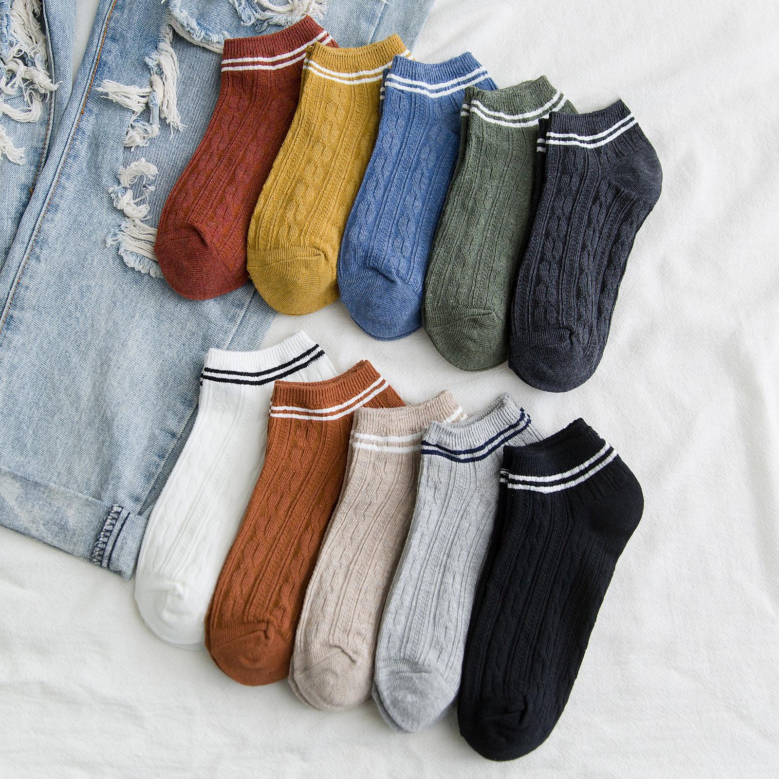 袜子女短袜浅口夏季薄款透气韩版日系船袜纯棉防臭低帮条纹夏天潮