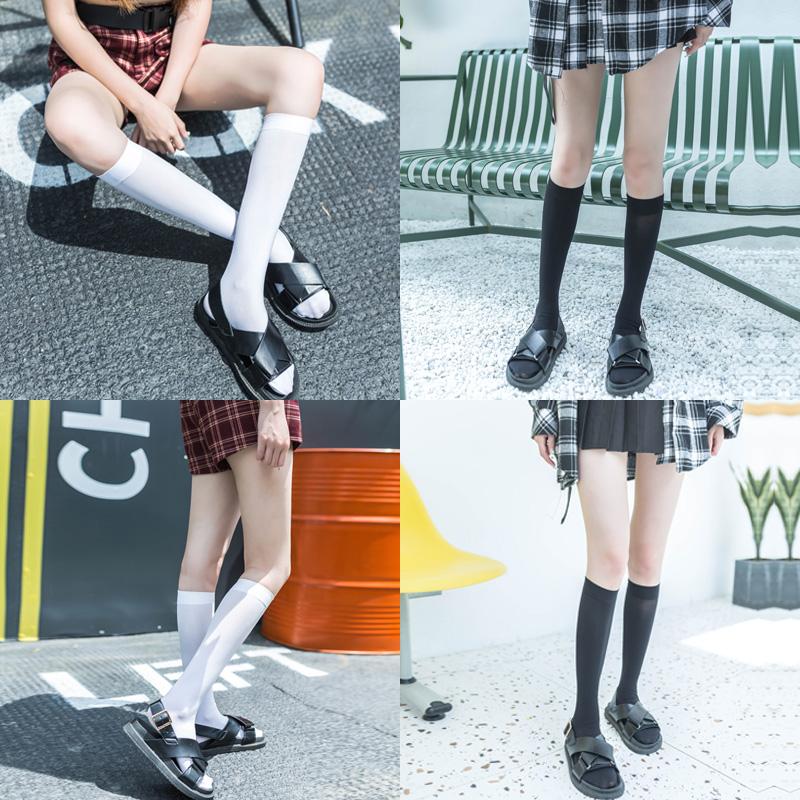 小腿袜日系制服配jk的白色袜子女中筒袜瘦腿学院风中长筒袜春秋季