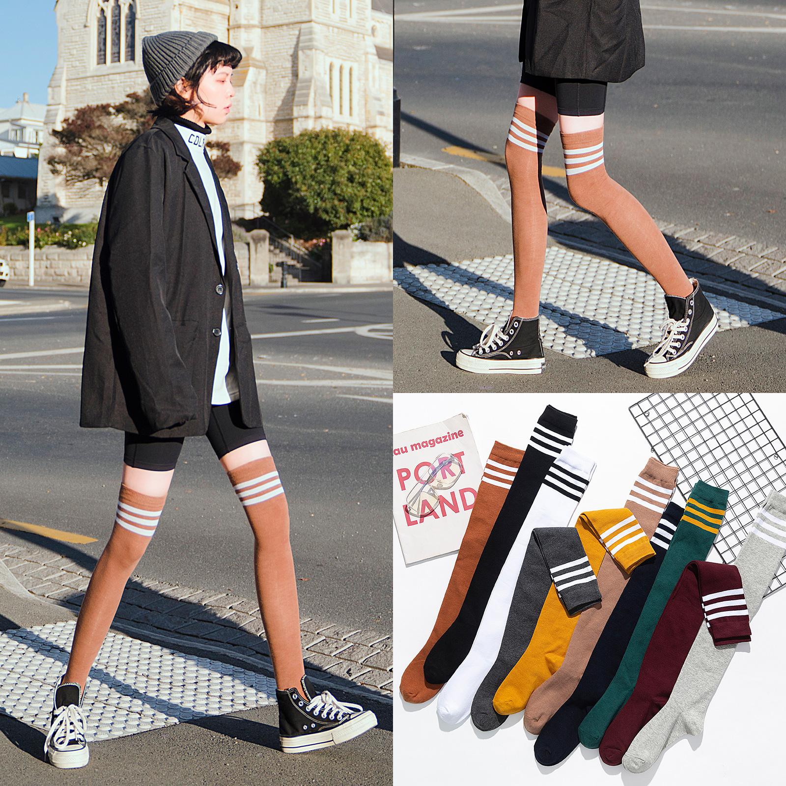 过膝袜女高筒袜黑色韩国秋冬季长筒袜子女潮ins日系学生jk长腿袜