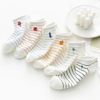 条纹袜子女ins潮低帮短筒浅口夏季薄款纯棉韩国可爱日系全棉白色