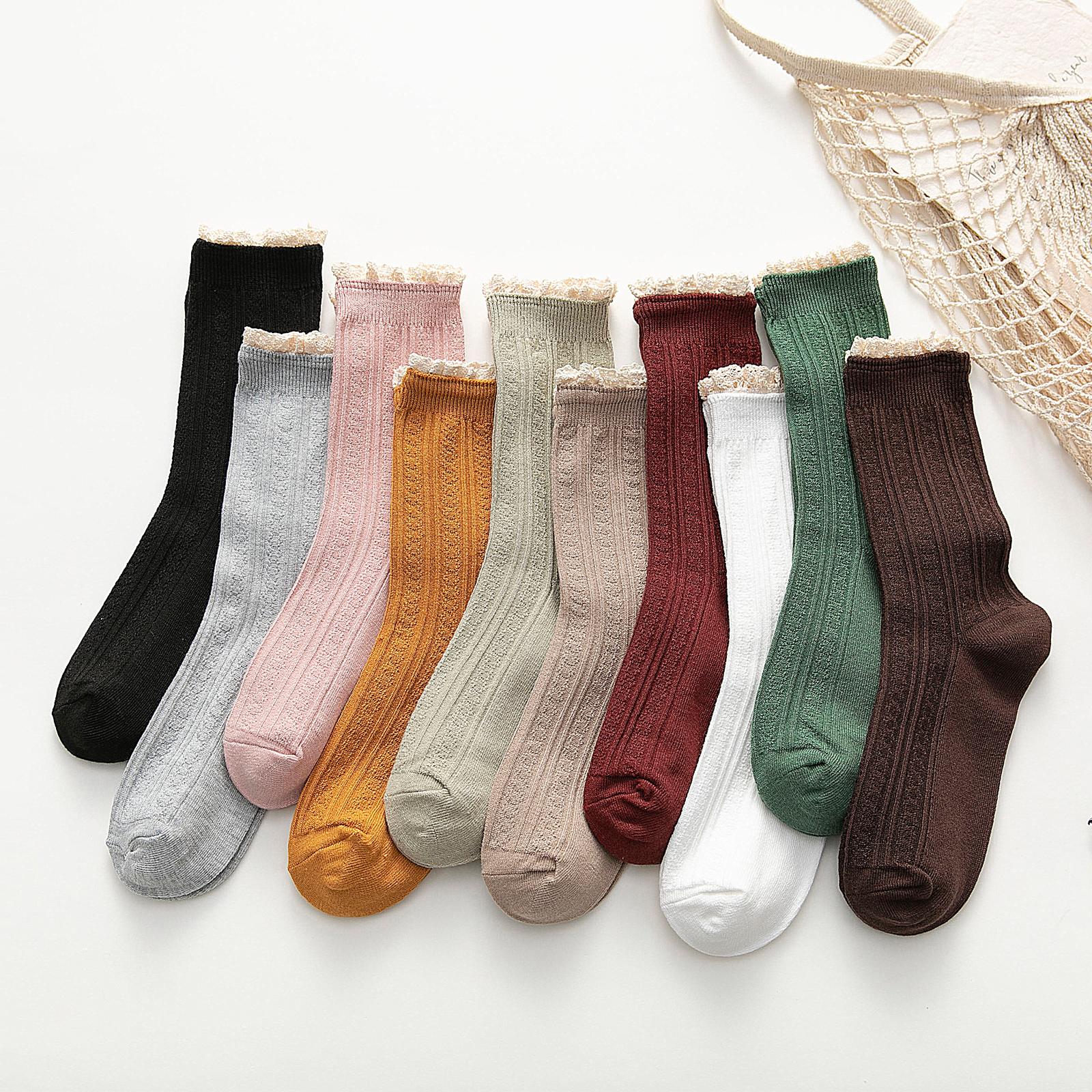 蕾丝花边长筒袜子女ins潮夏季薄款中筒袜韩国日系堆堆袜春秋百搭