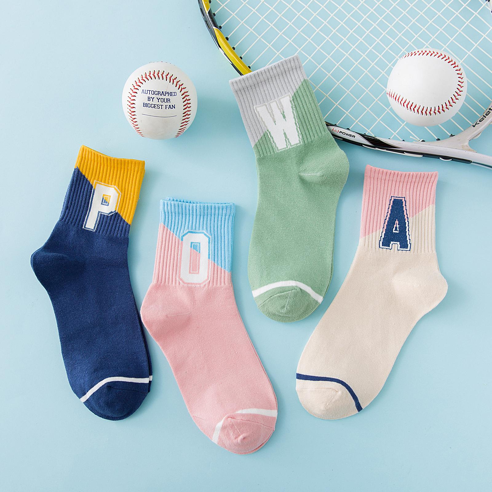 袜子女中筒袜运动风秋冬季棒球滑板长筒袜ins潮街头纯棉百搭韩国