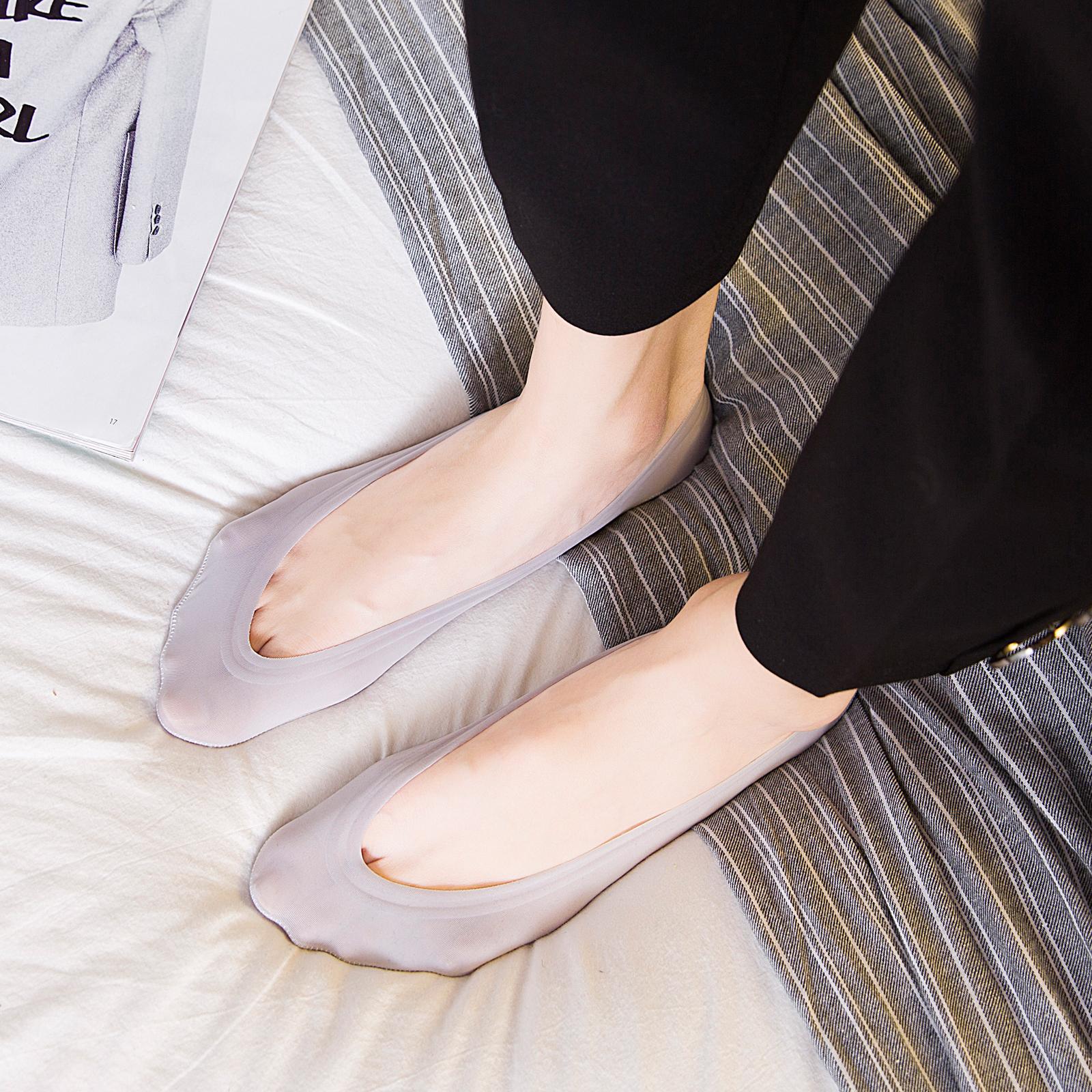 女士袜子夏季冰丝隐形袜船袜浅口硅胶防滑袜底纯棉薄款短袜不掉跟