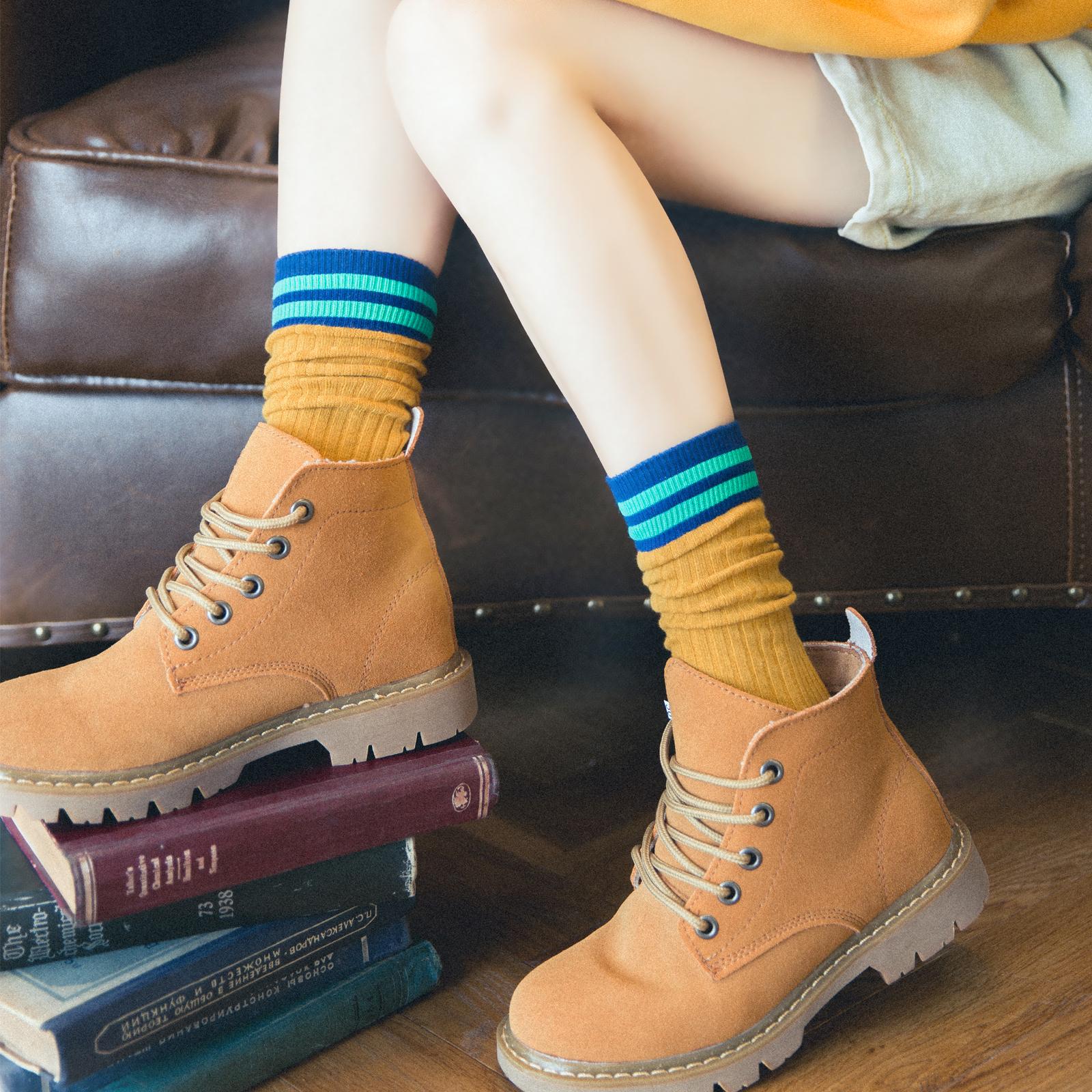长筒袜子女中筒袜韩国日系堆堆袜韩版夏季薄款高筒条纹纯棉ins潮