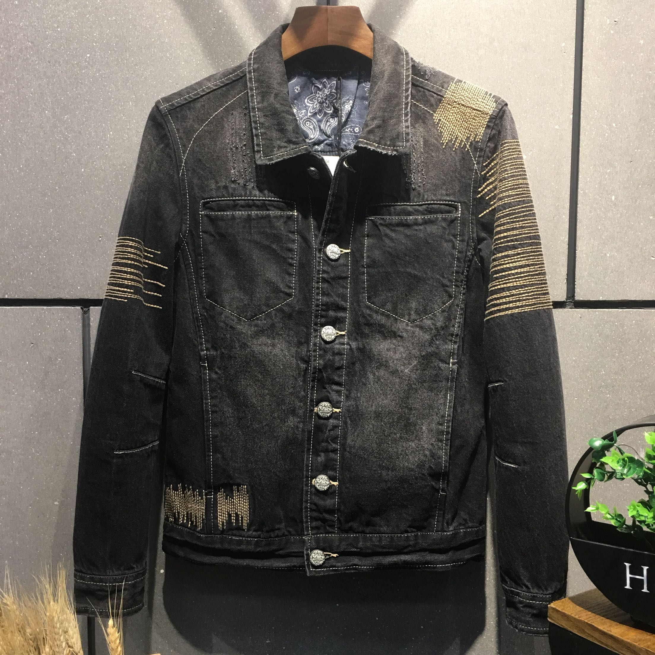 New style mens Pure Cotton Retro elastic slim fitting motorcycle jacket wash line pressing youth jeans jacket fashion