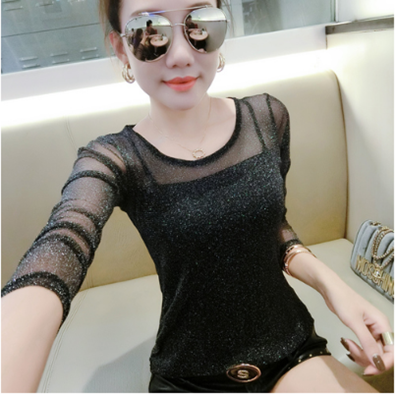 Bottoming shirt womens long sleeve 2020 spring and autumn new round neck bright silk screen sleeve slim fitting womens T-shirt lace shirt