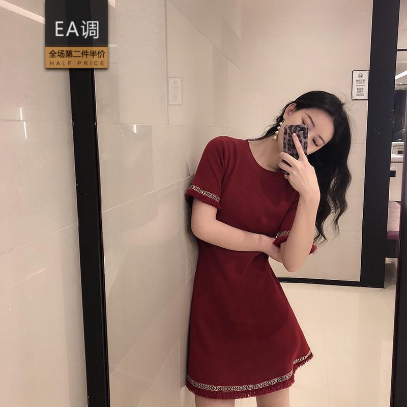 限7000张券夏季红色连衣裙复古赫本风小个子礼服女修身显瘦气质小红裙子短裙
