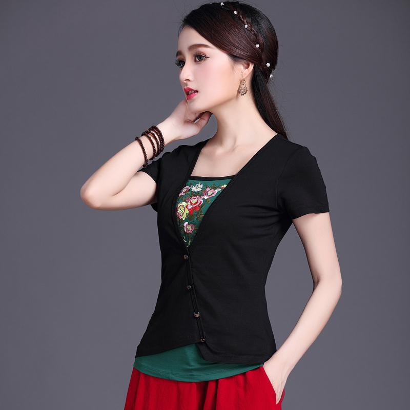 民族风女装夏装绣花上衣中国风刺绣棉短袖T恤女大码纯棉打底衫女