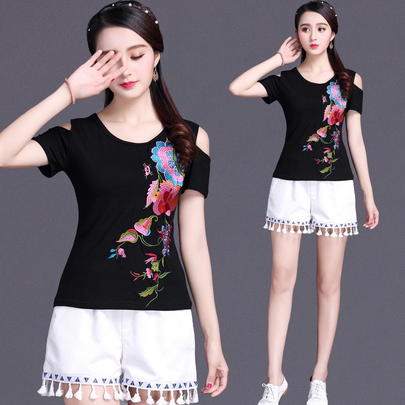 中国风绣花女装印花短袖T恤女 民族风刺绣上衣夏装新款大码打底衫