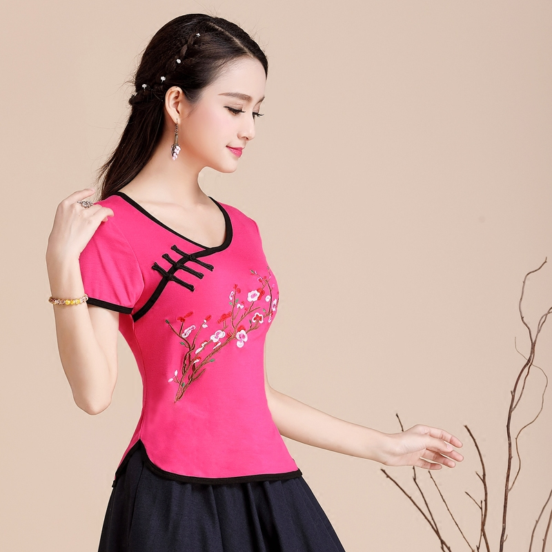 中国风 民族风女装 夏装上衣 刺绣修身绣花短袖t恤女棉大码打底衫