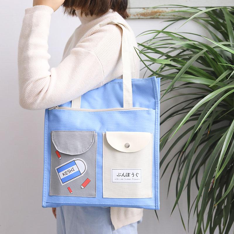 文件袋拉链袋学生手提袋拎书袋多层学生用补习袋帆布A4文件包女咔巴熊补课包 手提袋美术包作业袋文件收纳袋