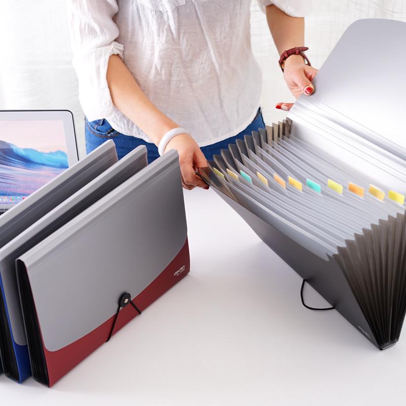 得力手风琴包文件夹多层插页学生用试卷夹A4文件收纳盒试卷收纳袋大容量分类文件袋资料册档案夹文件包多功能