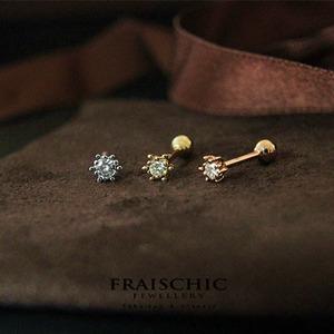 Fraischic「月满星稀」单钻18K黄金镶嵌钻石耳钉
