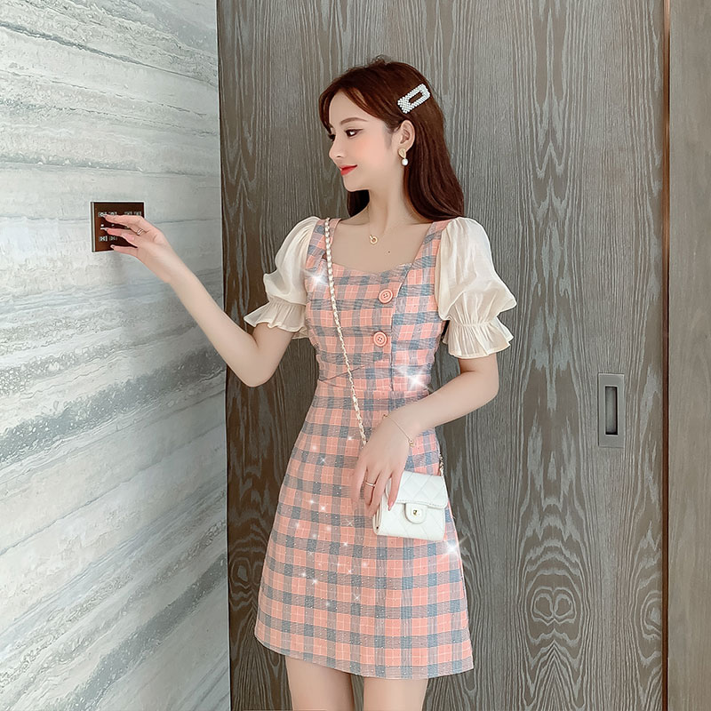 2020 summer new French small bubble sleeve waist show thin skirt Sequin Plaid chiffon dress female