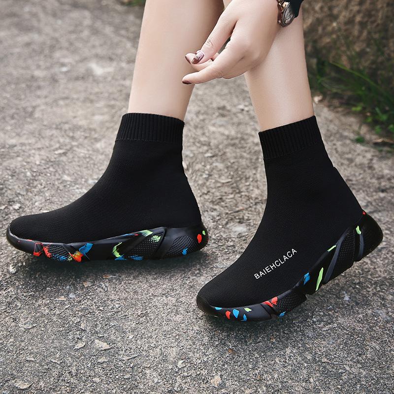 夏新款百搭短靴镂空透气袜子鞋40 41 42大码女鞋显脚小厚底高帮鞋