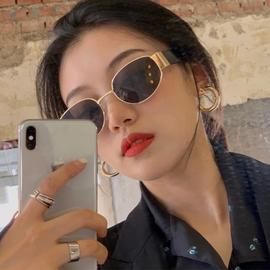 欧美复古显瘦墨镜女潮ins风街拍抖音网红眼镜蹦迪韩版拍照太阳镜图片