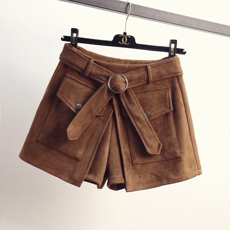 2021 spring and Autumn New Korean suede shorts wide leg pants womens slim pants hot pants high waist slim boots