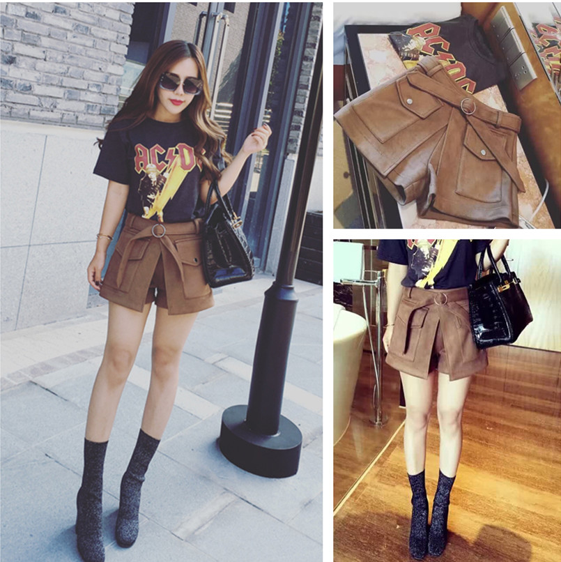 Winter shorts, womens high waist, elastic base, wide legs, thin A-line tweed boots, new style in autumn and winter